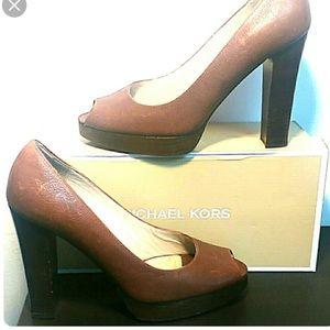 Platform peep toe Michael Kors Brown heels